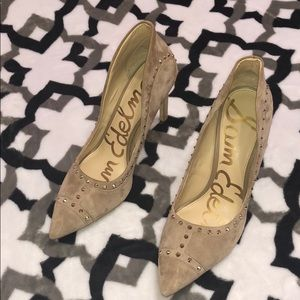 Sam Edelman Nude Suede Spiked Staletto